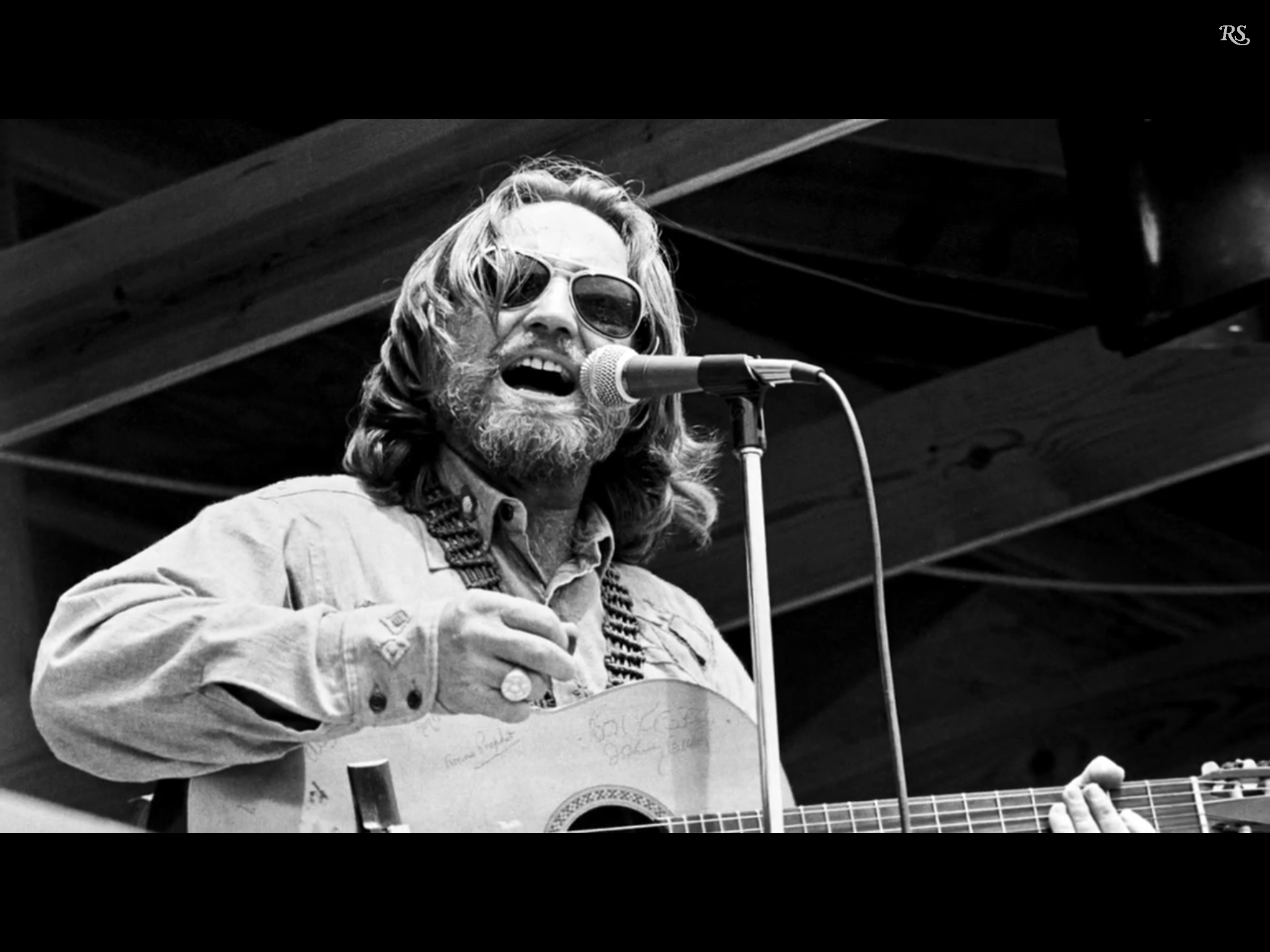 Willie Nelson with his guitar trigger