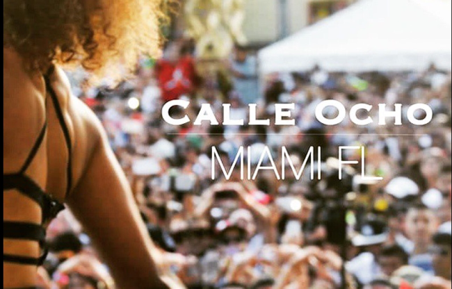 Celebrating Calle Ocho street party in Little Havana Miami