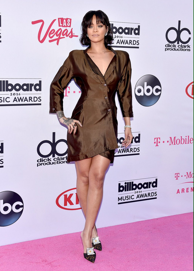 Rihanna attends the bbmas 2016, one of the last to arrive.