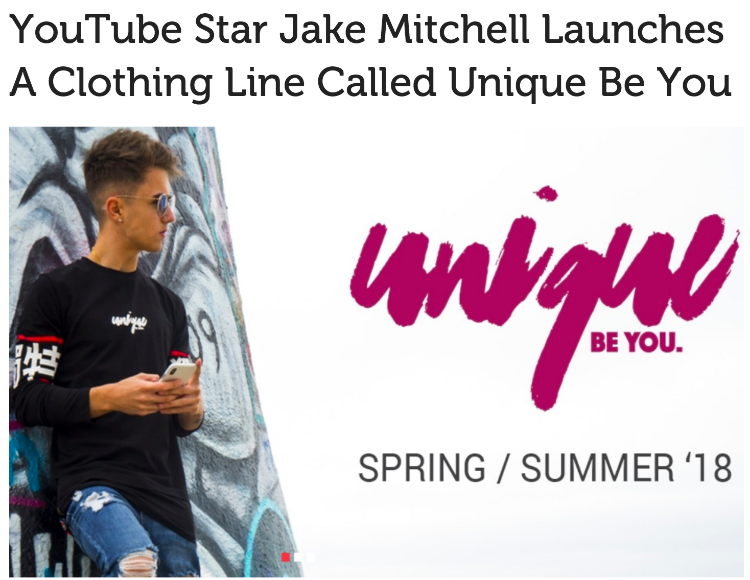 YouTube star to debut his own clothing line is Jake Mitchell
